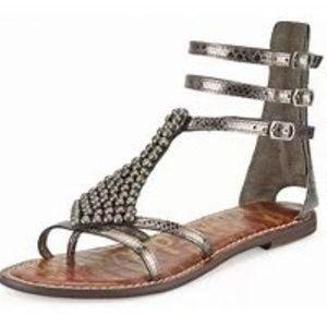 Sam Edleman sz 9 Silver Gladiator Sandals Beaded